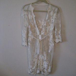 Vintage lace jacket shirt tunic top M